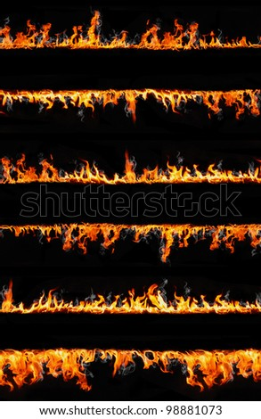 fire lines isolated on black background - stock photo