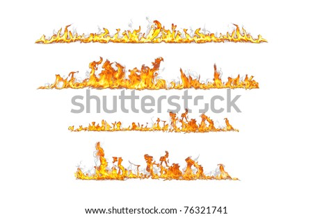 fire lines isolated on white - stock photo