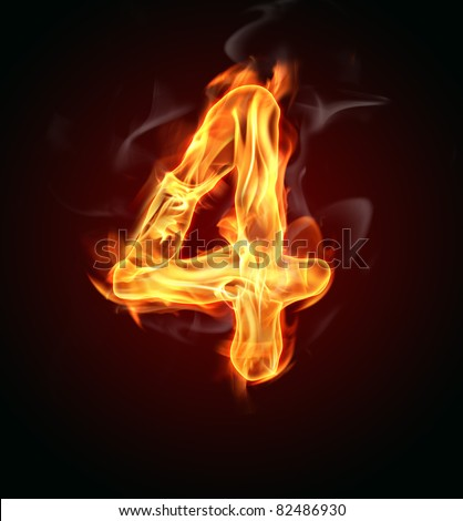"Fire number ""4"" - stock photo"