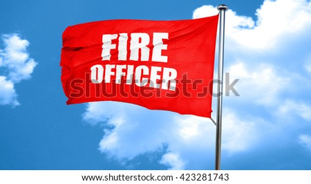 fire officer, 3D rendering, a red waving flag - stock photo