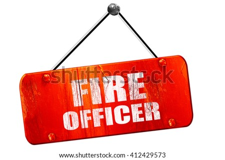 fire officer, 3D rendering, vintage old red sign - stock photo