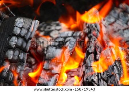 fire on a cauldron - stock photo