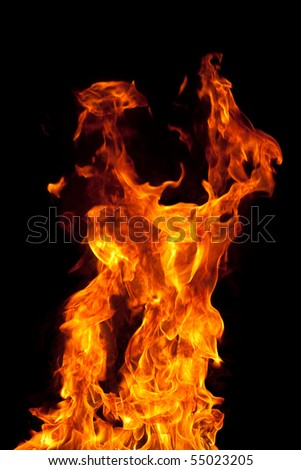 Fire on black - stock photo