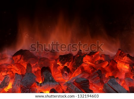 Fire on charcoal for food grilling - stock photo