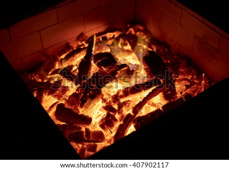 Fire orange and red embers texture background - stock photo