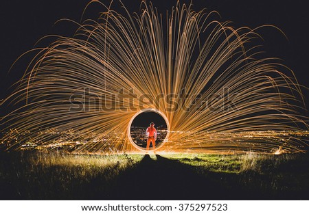 Fire over the city, Cluj Napoca - stock photo