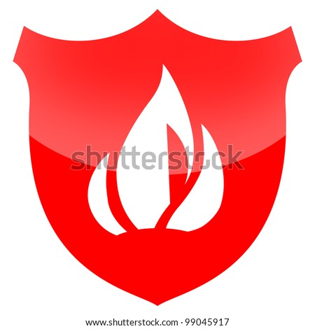 Fire protection shield isolated on white background - stock photo