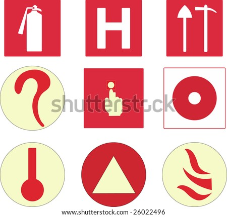 fire protection symbols - stock photo