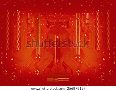 fire red circuit board background of computer motherboard - stock photo