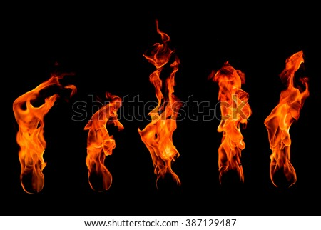 Fire set isolated on black - stock photo