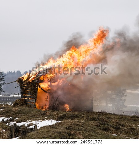 Fire shed - stock photo