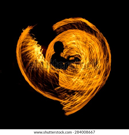fire show, flammable, beautiful, night, man - stock photo