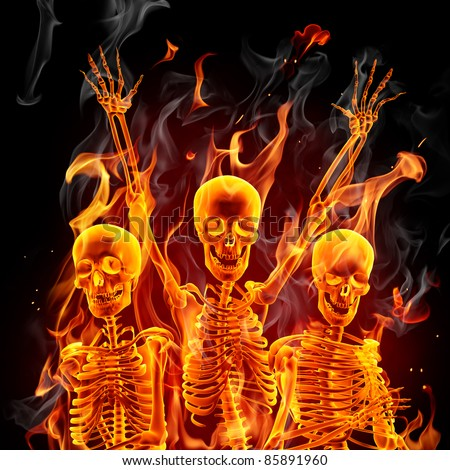 Fire skeletons - stock photo