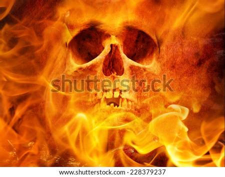Fire skull - stock photo