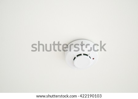 fire smoke detect on ceiling - stock photo