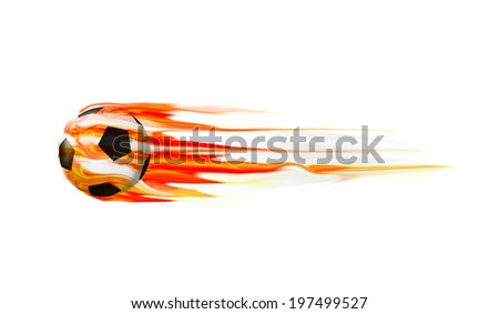 Fire soccer ball on isolate background - stock photo