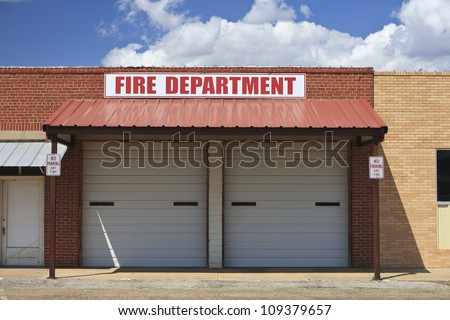 Fire station in Roaring Springs, TX, USA. - stock photo