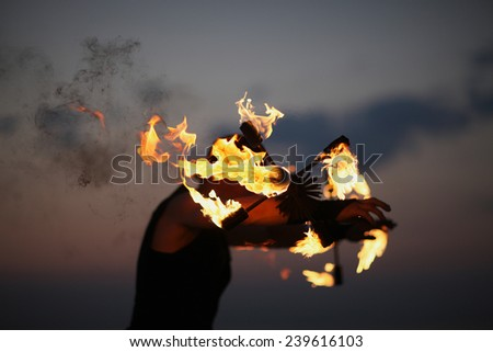 Fire stunt; fire show details - stock photo