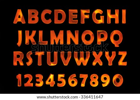 fire text. Alphabet of fire. red-hot metal text - stock photo