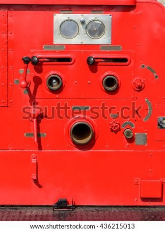 Fire truck fighting equipment - stock photo