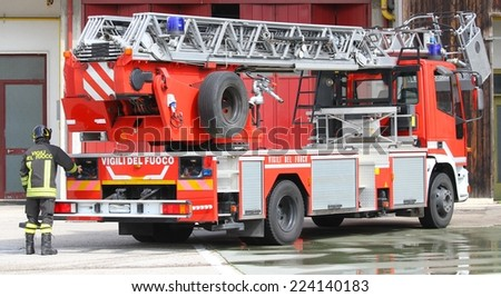 fire truck of Italian firefighter during an emergency - stock photo