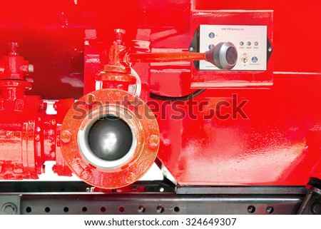 Fire truck red for public assistance at the fire. - stock photo