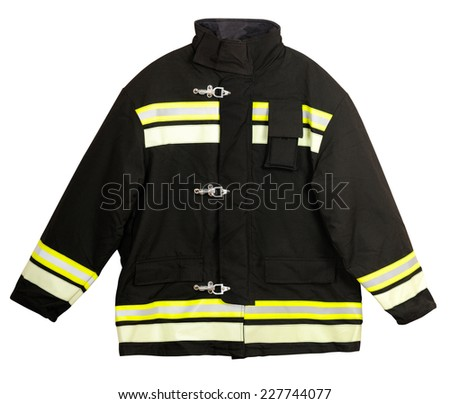 Fire Turnout coat isolated on white background - stock photo