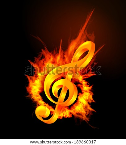 Fire violin key sign.  - stock photo