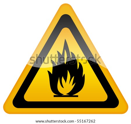 Fire warning sign - stock photo