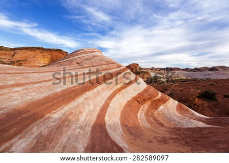 Fire Wave, Sandstone formation in Valley of Fire State Park, Nevada - stock photo