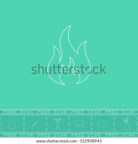 Fire. White outline flat icon and bonus symbol. Simple illustration pictogram on green background - stock photo