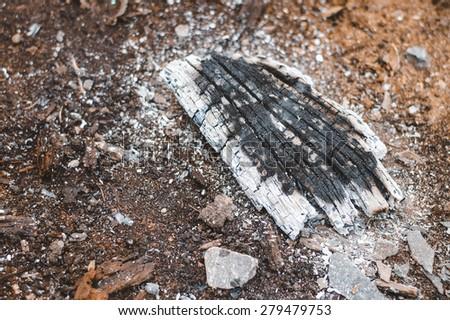 fire wood ash charcoal fire - stock photo