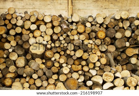Fire wood barn detail  - stock photo
