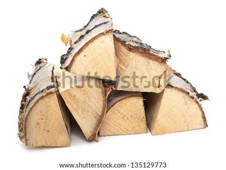fire wood made from birch - stock photo