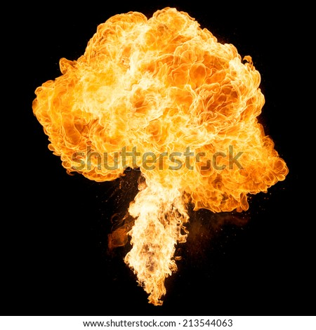 fireball isolated on a black background - stock photo