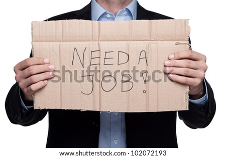 Fired businessman searching for a job isolated on white background - stock photo