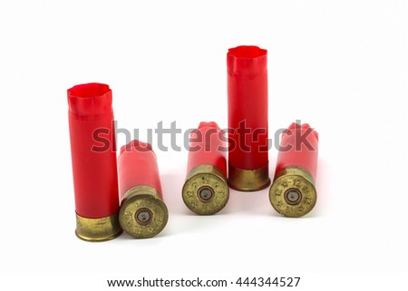 Fired shotgun shells on White Background , gauge 12 - stock photo