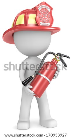 Firefighter. Dude the Firefighter holding fire extinguisher. Red helmet. - stock photo