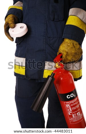 Firefighter holding fire alarm and extinguisher isolated on white - stock photo