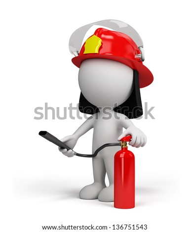Firefighter in the helmet with red fire extinguisher. 3d image. White background. - stock photo
