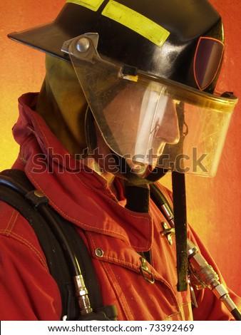 Firefighter portrait. - stock photo