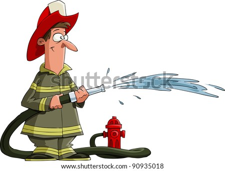 Firefighter pours from a fire hose, raster - stock photo