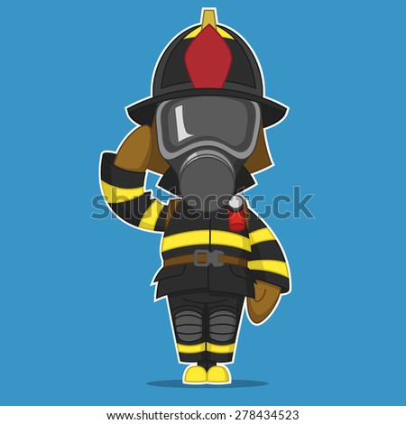Firefighter salutes. Raster illustration  - stock photo