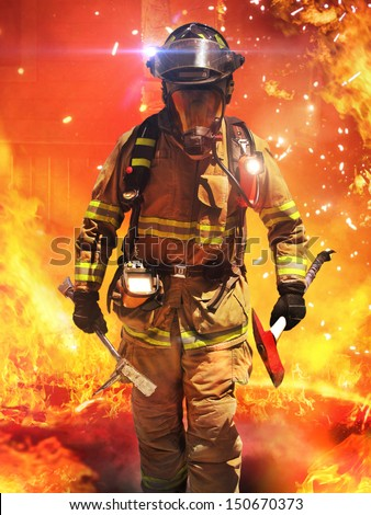 Firefighter searches for possible survivors with tools, tactical lighting and thermal imaging camera . Part of a firefighter series. - stock photo