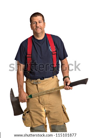 Firefighter Standing Holding Ax Full Body Length Portrait Isolate on Withe Background - stock photo