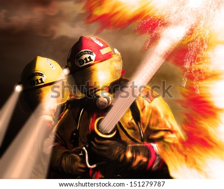 Firefighter 9/11 tribute Painting - stock photo