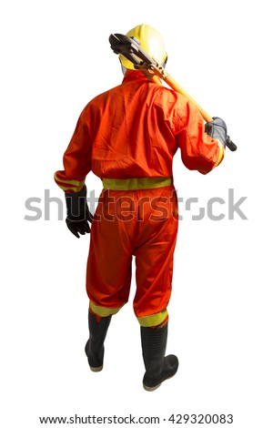 Firefighter with Bolt Cutting Tool isolated on white background with clipping path - stock photo
