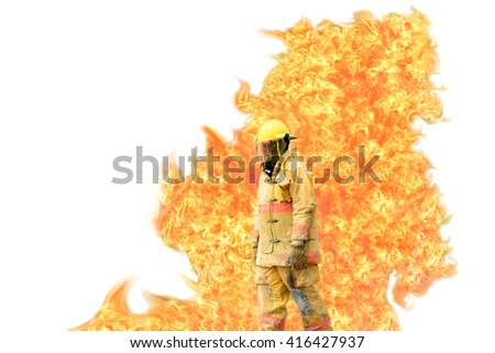 Firefighter with flame backside on white background - stock photo