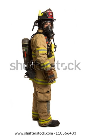Firefighter with mask and airpack fully protective suit on isolated white background - stock photo