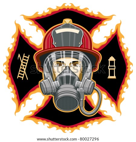 Firefighter with Mask and Axes is an illustration of the head of a firefighter with a helmet and mask in front of a cross. - stock photo